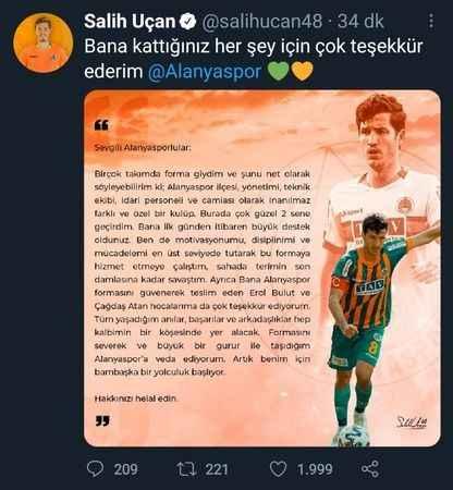 """Alanyasporlu Salih Uçan'dan duygusal veda: """"Hakkınızı helal edin"""""""