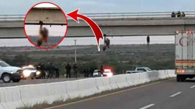 Öldürüp köprüye astılar!