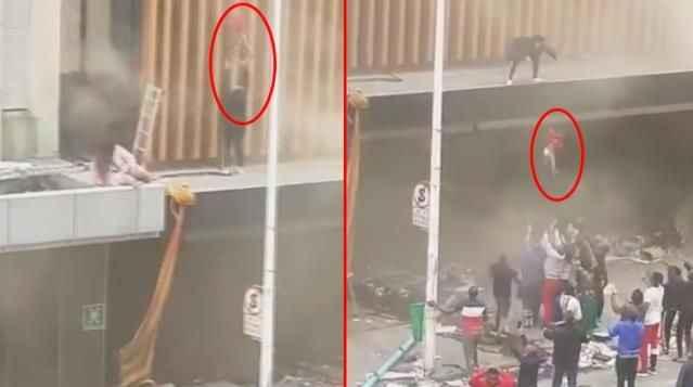 Kan donduran görüntüler! Bebeğini yanan binadan böyle attı