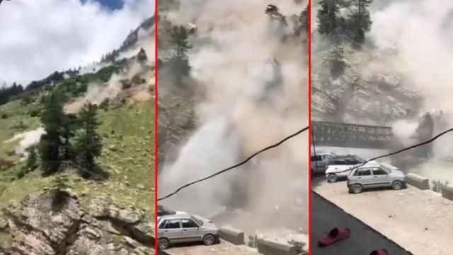 Dehşet anları! Tepeden düşen kayalar 9 turistin canını aldı