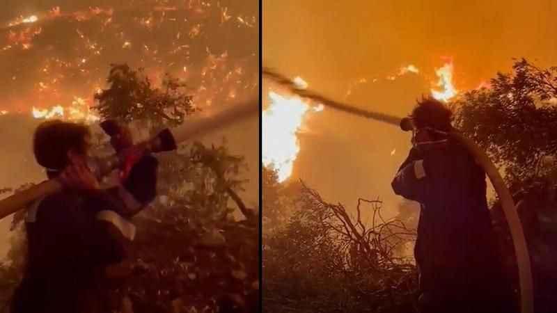 Ünlü oyuncu yangına en ön saflarda müdahale ediyor!