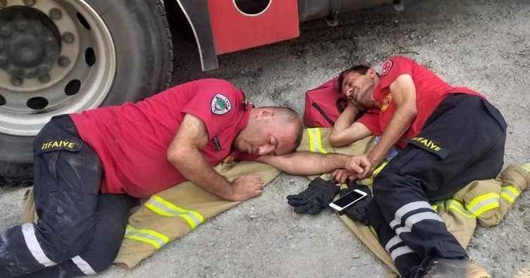 Onlar Alanya Güzelbağ'daki zorlu yangın mücadelesinin kahramanları...