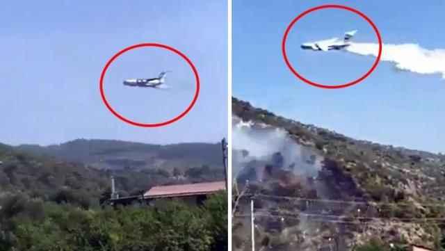 Rus uçağından orman yangınına tartışma yaratan müdahale! Suyu alevlerin olmadığı alana boşalttı