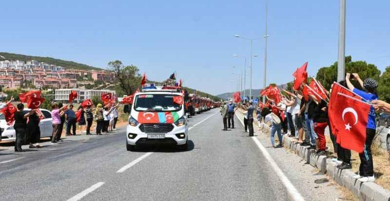 Kardeş Azerbaycanlı itfaiye ekipleri uğurlandı