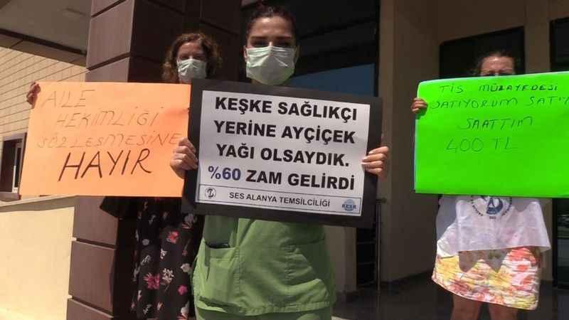 Alanya'da emekçiler eylemde: 'Satış sözleşmesini kabul etmiyoruz'