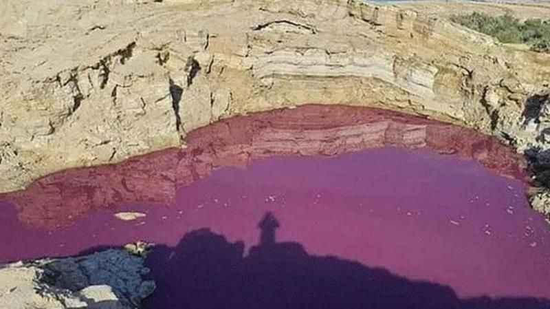 Dünyayı tedirgin eden görüntü! Kutsal kitapta da geçen kıyametin habercisi göl kırmızıya döndü