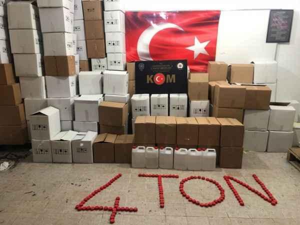 4 ton sahte etil alkol ele geçirildi