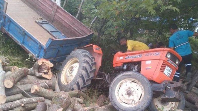 Traktör devrildi: 3 yaralı