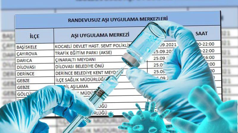 Kocaeli'de bugün randevusuz aşı yapan yerler