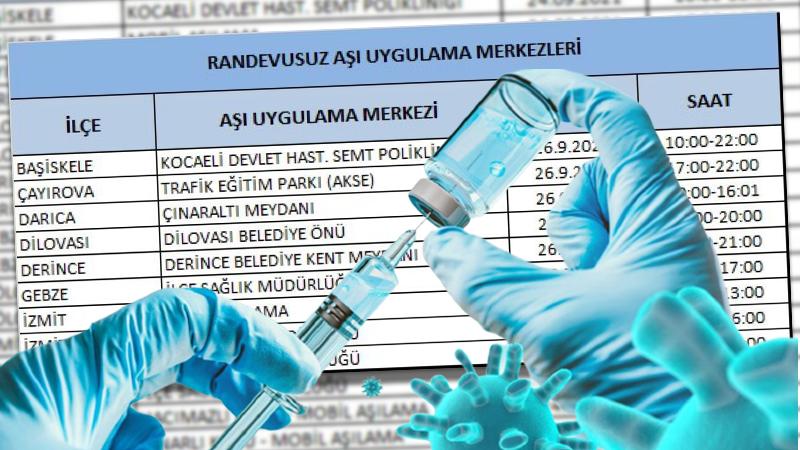 Kocaeli'de, 26 Eylül'de randevusuz aşı yapan yerler