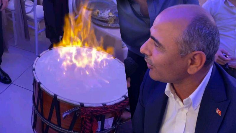 Muş Türküsü söyledi, davulu ateşe verdi