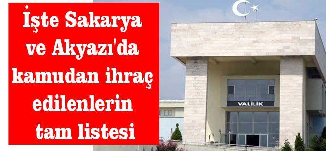 İşte Sakarya ve Akyazı'da kamudan ihraç edilenlerin tam listesi