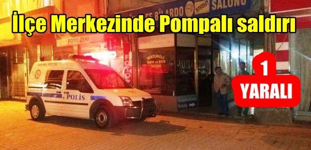 İlçe merkezinde Pompalı saldırı 1 yaralı