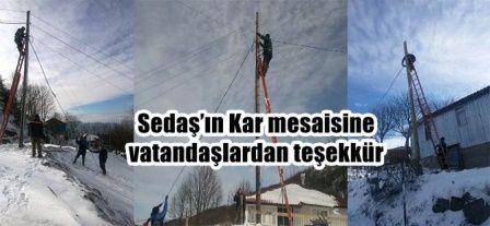 Sedaş'ın Kar mesaisine vatandaşlardan teşekkür