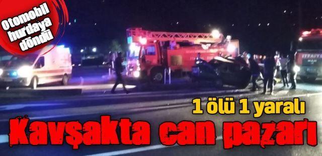 Otobüs Otomobille çarpıştı.1 Ölü 1 yaralı