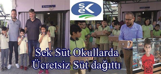 Sek Süt Okullarda Ücretsiz Süt dağıttı
