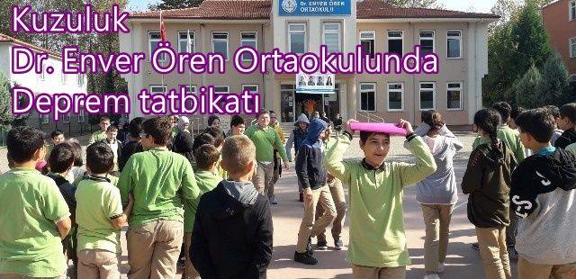 Ortaokul'da Deprem tatbikatı