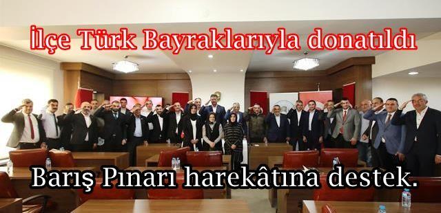 Barış Pınarı harekâtına destek. İlçe Türk Bayraklarıyla donatıldı