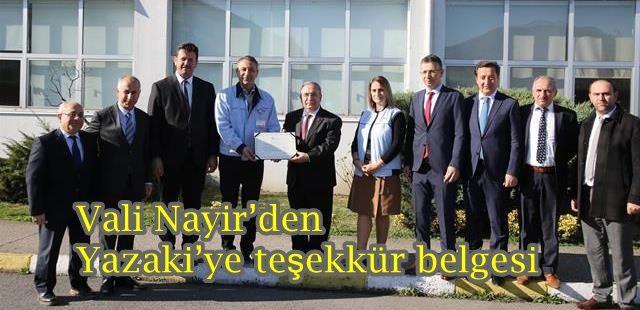 Vali Nayir'den Yazaki'ye teşekkür belgesi