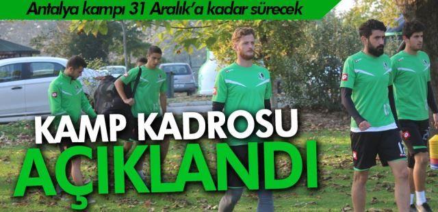 Sakarya Spor'un kamp kadrosu açıklandı