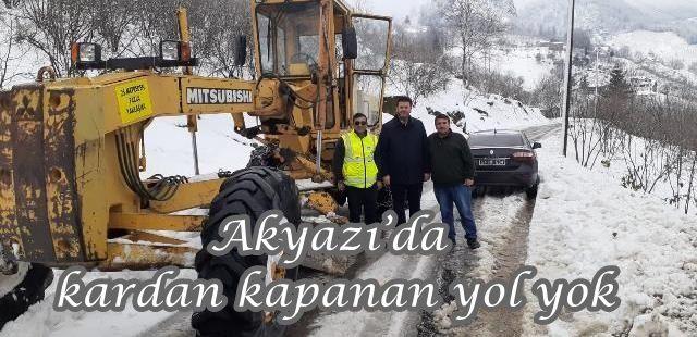 Akyazı'da kardan kapanan yol yok