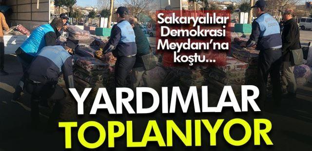 Sakaryalılar yardım için Demokrasi Meydanına koştu