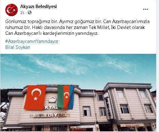 Akyazı'dan Azerbaycan'a destek