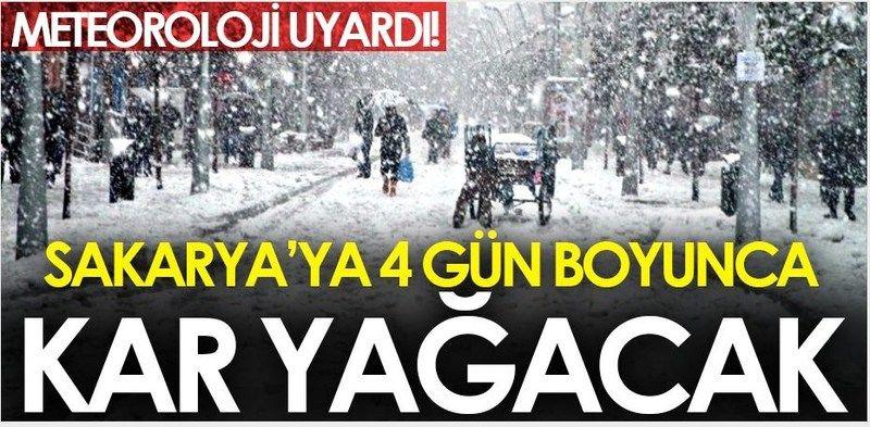 Akyazı'ya 4 gün boyunca kar yağacak!