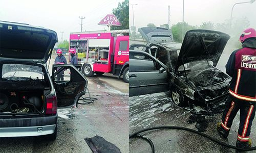 LPG'li Otomobil içerisinde bir anda alevler arasında kaldılar