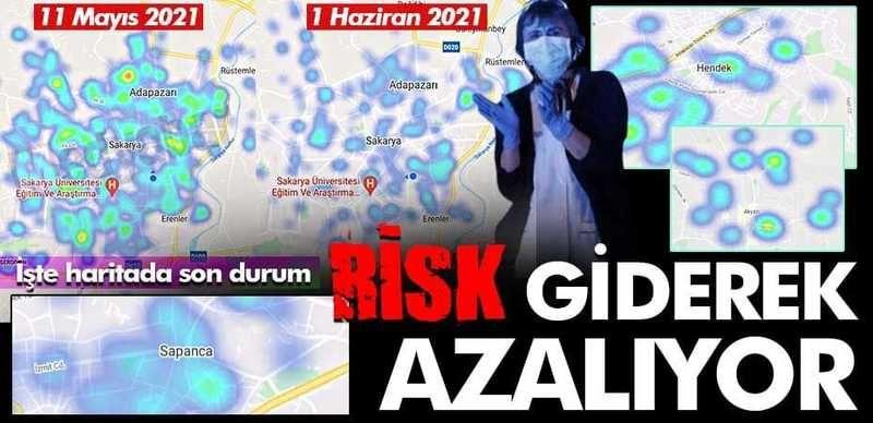 Risk giderek azalıyor! İşte Sakarya'nın korona yoğunluk haritasında son durum…