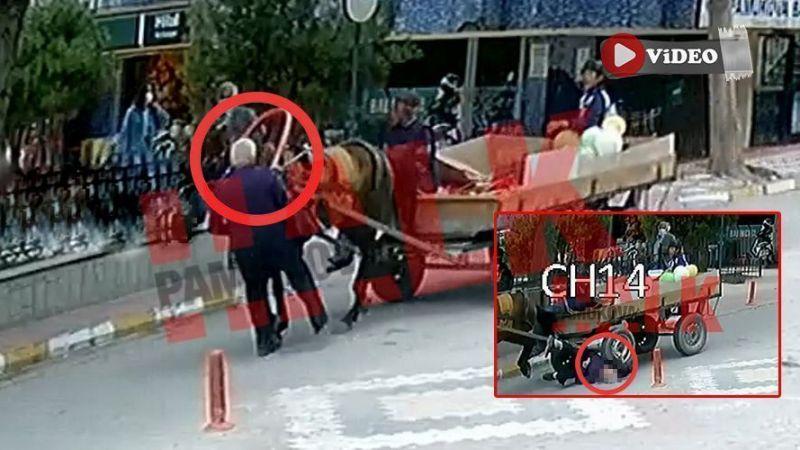 Akıllara durgunluk veren kaza! 84 yaşındaki adama at arabası çarptı..!