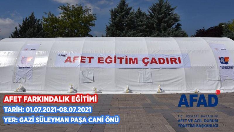 Afet Eğitim çadırı kuruluyor