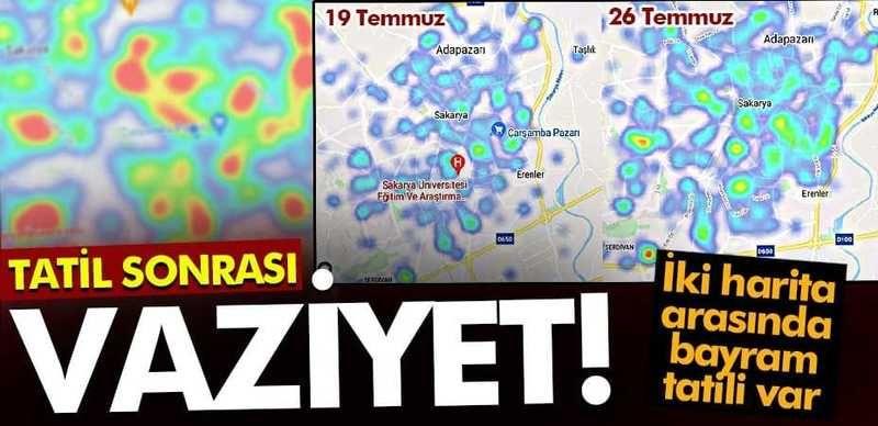 Sakarya'da tatil sonrası vaziyet haritaya yansıdı!