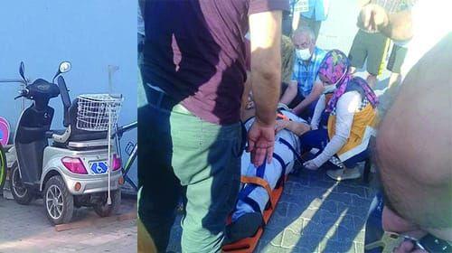 Engelli aracında düşen yaşlı adam Hastaneye kaldırıldı