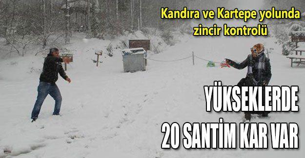 Yükseklerde 20 santim kar var