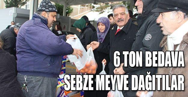 6 ton bedava sebze meyve dağıtıldı