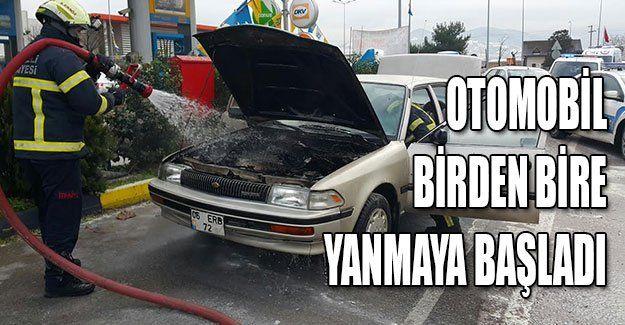 Otomobil birden bire yanmaya başladı