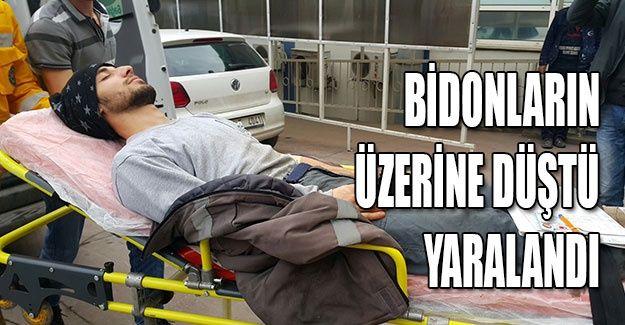 Bidonların üzerine düştü yaralandı