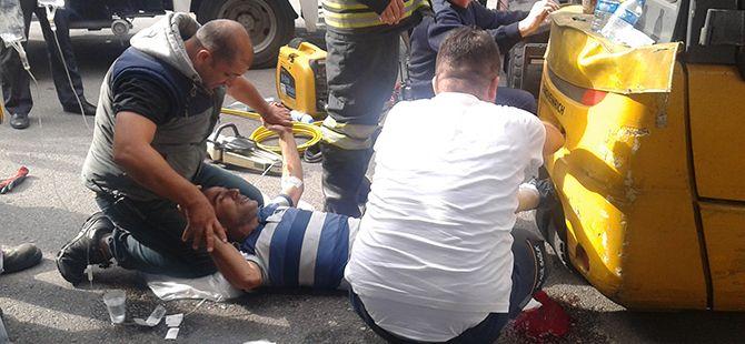 Darıca'da forkliftin ezdiği operatör yaralandı