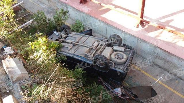 Okulun bahçesine otomobil uçtu:1 yaralı