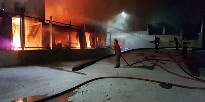 İşçilerin kaldığı konteynerde yangın çıktı