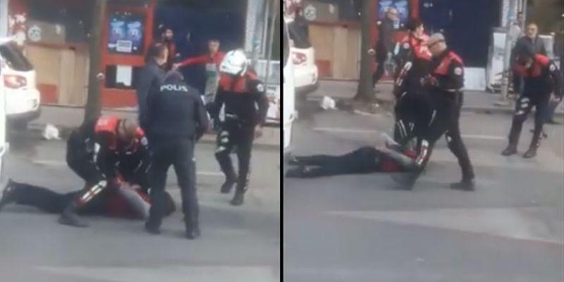 Kavgayı ayırmaya gelen polise satırla saldırdı
