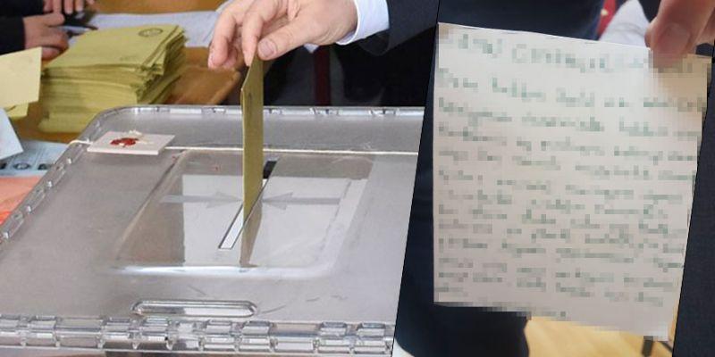 Oy zarfından Erdoğan'a mektup çıktı
