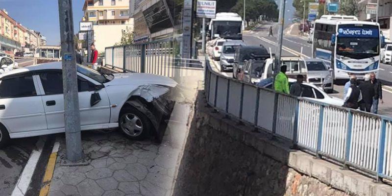Yayaya çarpan otomobili köprü korkulukları tuttu