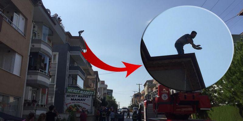 Binanın çatısına çıkan şahıs intihara kalkıştı