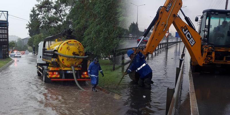 Yağmur bastırdı, Büyükşehir ekipleri teyakkuza geçti