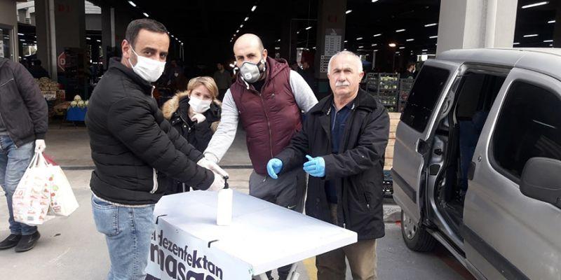 Yenikent Pazarı'nda koronavirüs önlemi