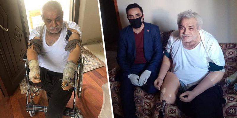 Şayir sözünü tuttu, kolunu ve bacağını kaybeden vatandaşın yüzü güldü