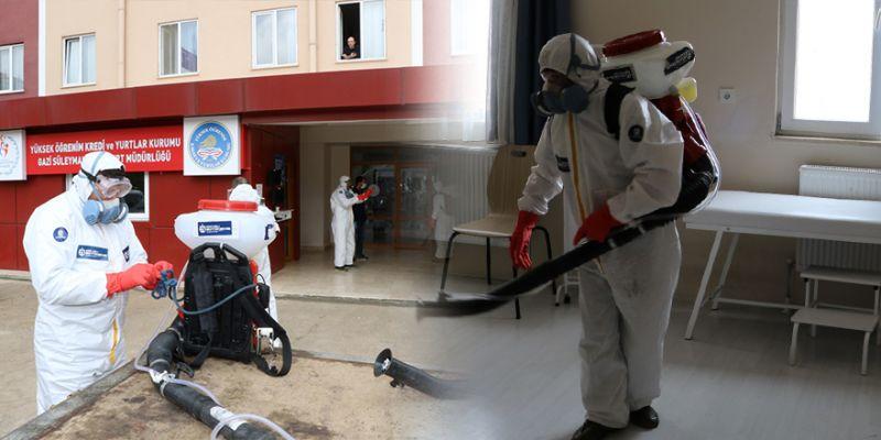 Kocaeli'deki yurtlar misafirlerin ardından dezenfekte ediliyor