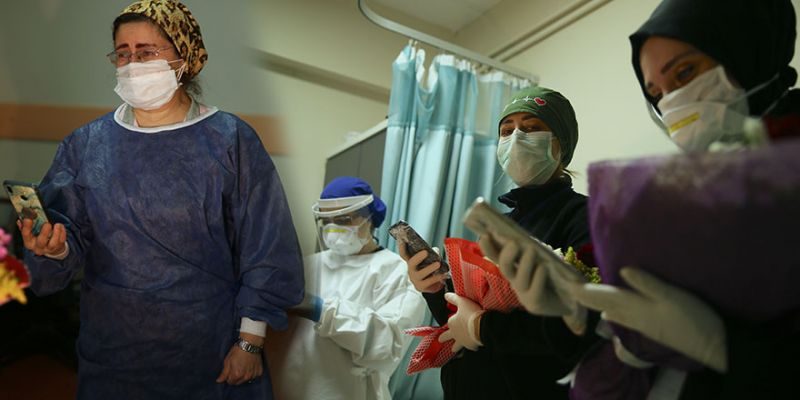 Sağlık çalışanı annelere duygulandıran sürpriz